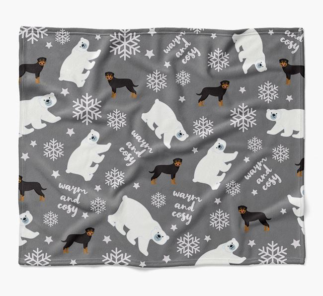 Polar Bear Pattern Blanket with Rottweiler Icons