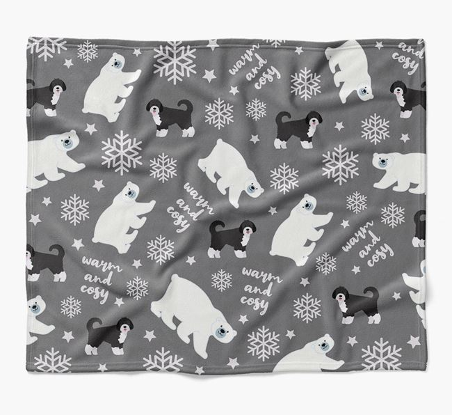Polar Bear Pattern Blanket with Spanish Water Dog Icons