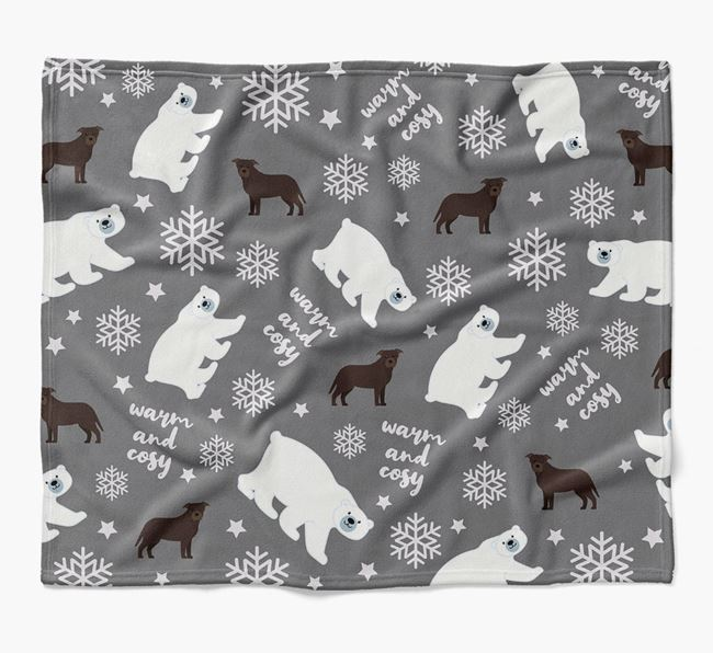 Polar Bear Pattern Blanket with Staffordshire Bull Terrier Icons