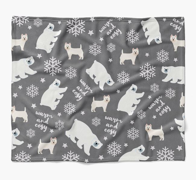 Polar Bear Pattern Blanket with West Highland White Terrier Icons