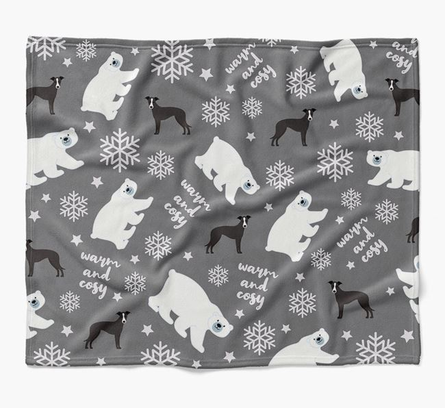Polar Bear Pattern Blanket with Whippet Icons