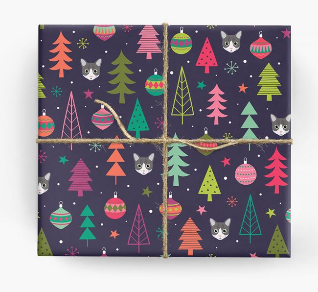 'Christmas Pattern' - Personalized Cat Wrapping Paper