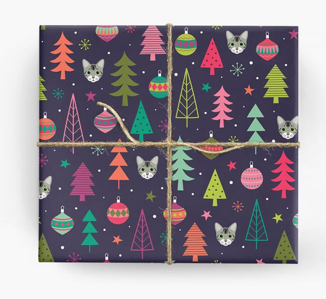 'Christmas Pattern' - Personalised Bengal Wrapping Paper