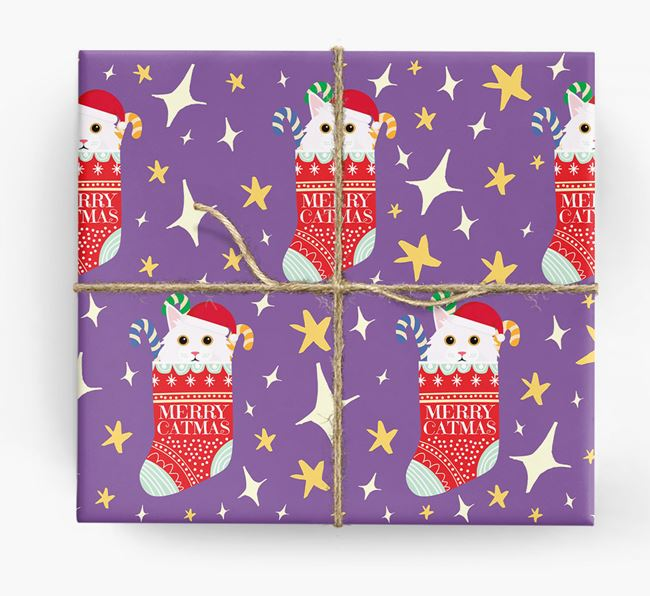 'Merry Catmas' - Personalized Cat Wrapping Paper