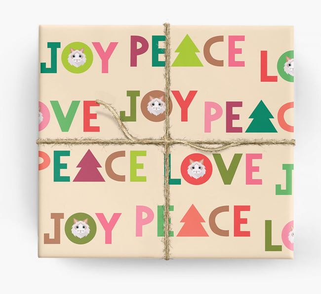 'Peace, Love, Joy' - Personalized Cat Wrapping Paper