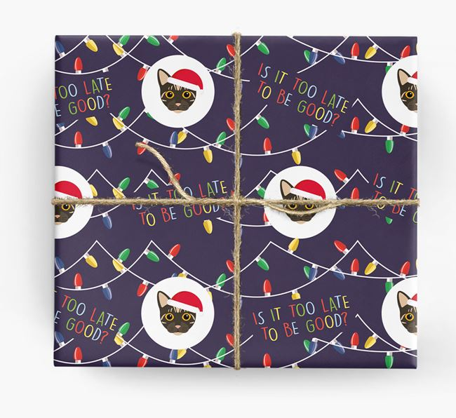 'Is It Too Late?' - Personalised Bengal Christmas Wrapping Paper