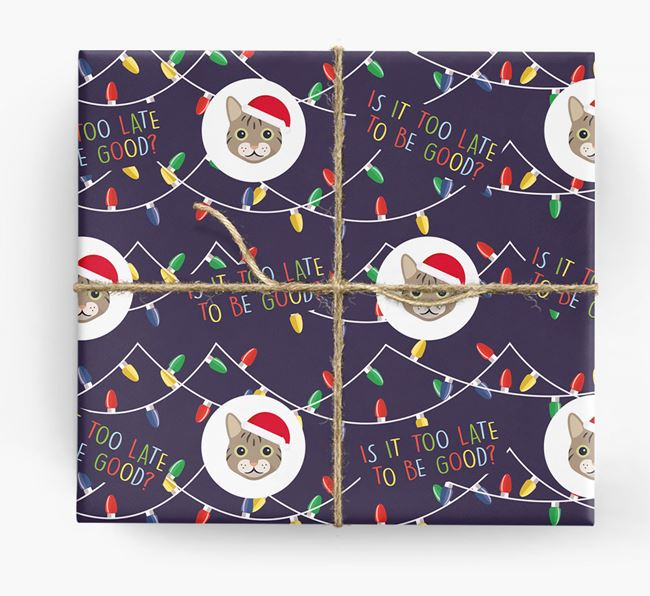 'Is It Too Late?' - Personalised Cat Christmas Wrapping Paper