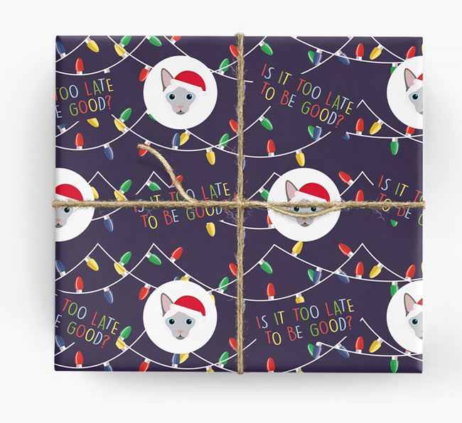 'Is It Too Late?' - Personalised Siamese Christmas Wrapping Paper