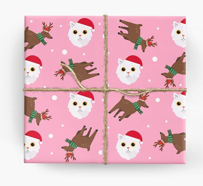 'Reindeer Pattern' - Personalized Cat Wrapping Paper