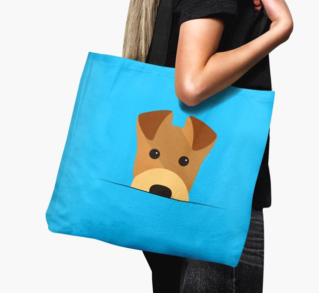 Airedale Peeking Canvas Bag