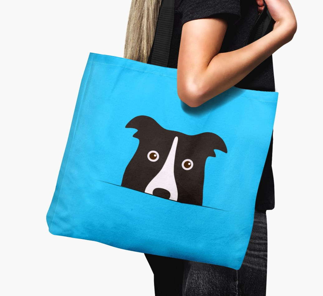 Border Collie Icon 'Peeking' Canvas Bag in {colour} held by woman