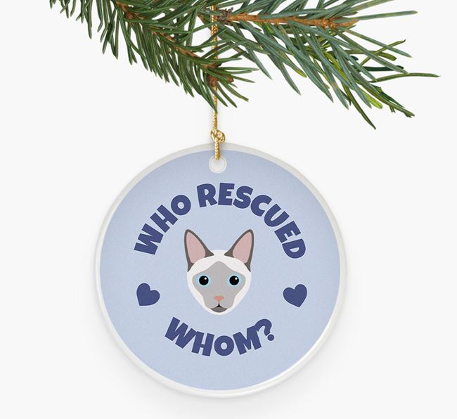 'Who Rescued Whom?' - Personalised Siamese Ceramic Decoration