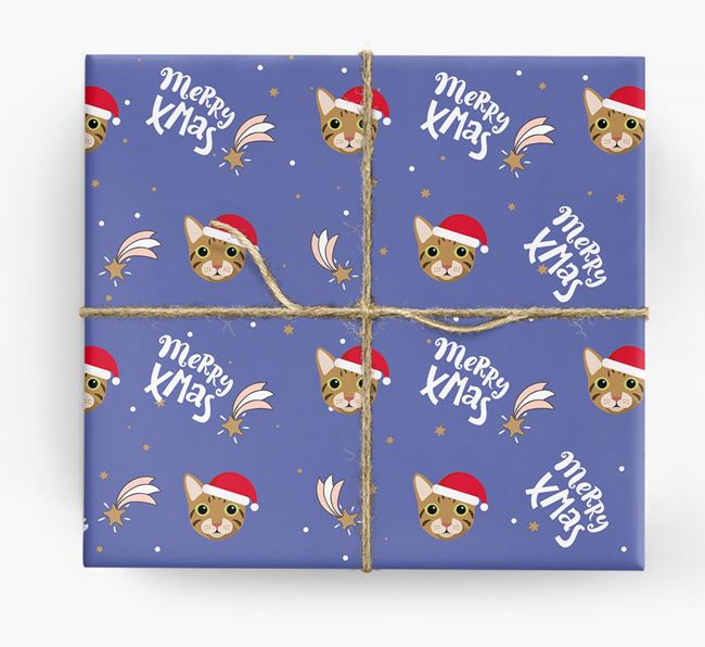 'Merry X-Mas' - Personalized Cat Wrapping Paper