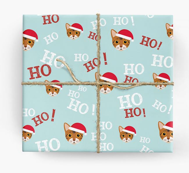 'Ho! Ho! Ho!' - Personalised Bengal Wrapping Paper