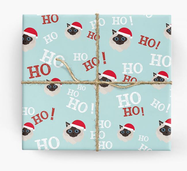 'Ho! Ho! Ho!' - Personalised Cat Wrapping Paper