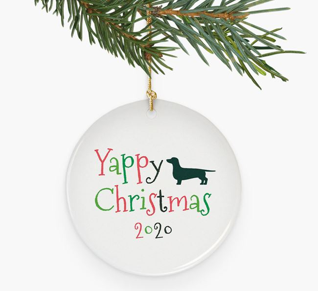 'Yappy Christmas 2020' Ceramic Decoration with Dachshund Silhouette