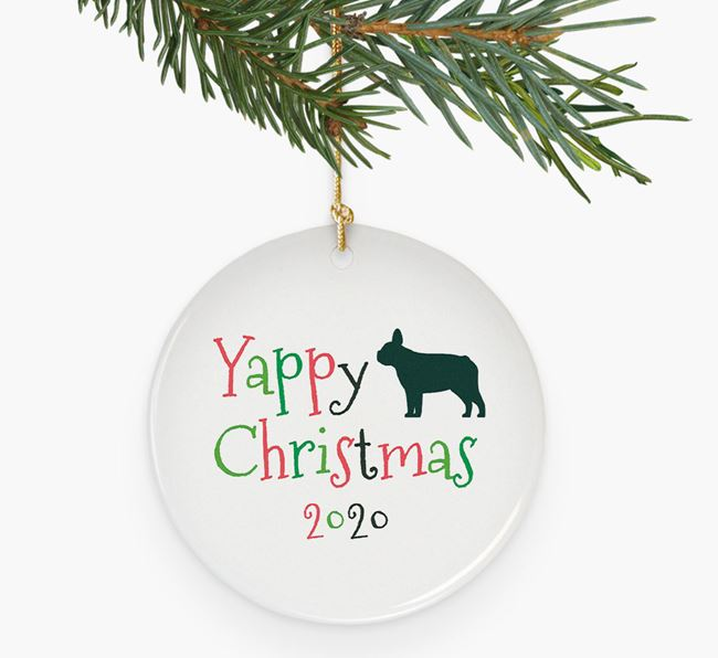 'Yappy Christmas 2020' Ceramic Decoration with French Bulldog Silhouette