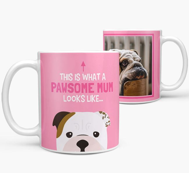 'Pawsome Mum' - Personalised English Bulldog Mug