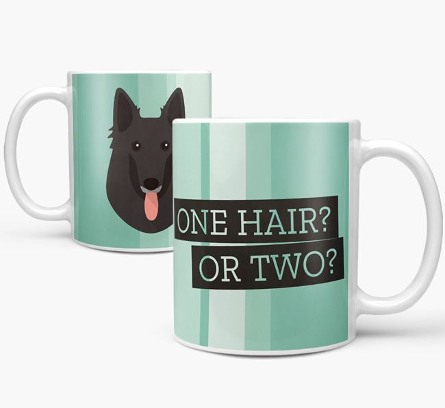 Belgian Groenendael 'One Hair? Or Two?' Mug