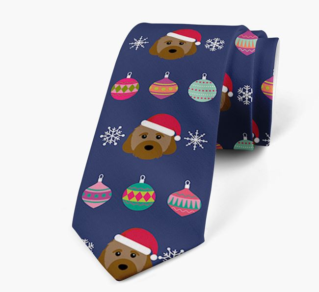 'Christmas Baubles' - Personalised Neck Tie with Cavachon Icons