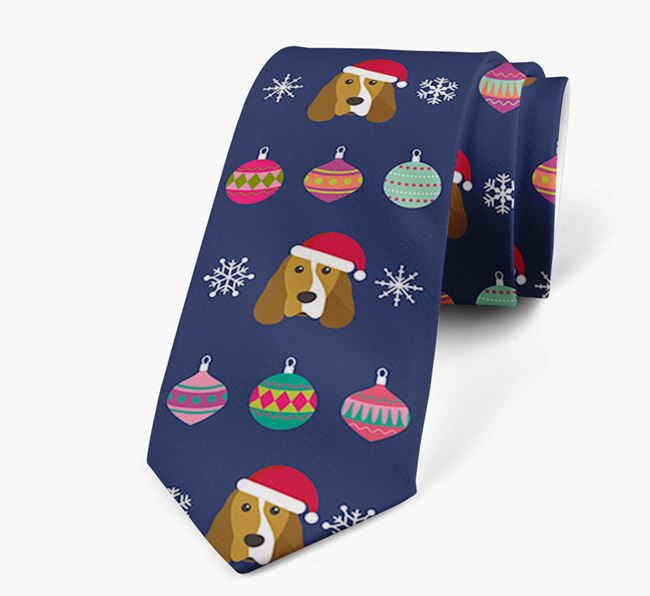 'Christmas Baubles' - Personalised Neck Tie with Cocker Spaniel Icons