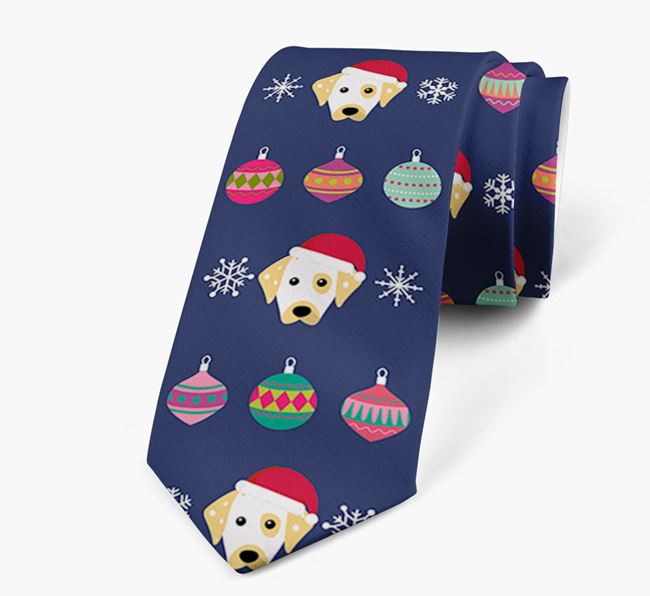 'Christmas Baubles' - Personalised Neck Tie with Dalmatian Icons