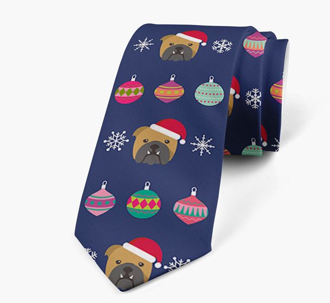 'Christmas Baubles' - Personalised Neck Tie with English Bulldog Icons