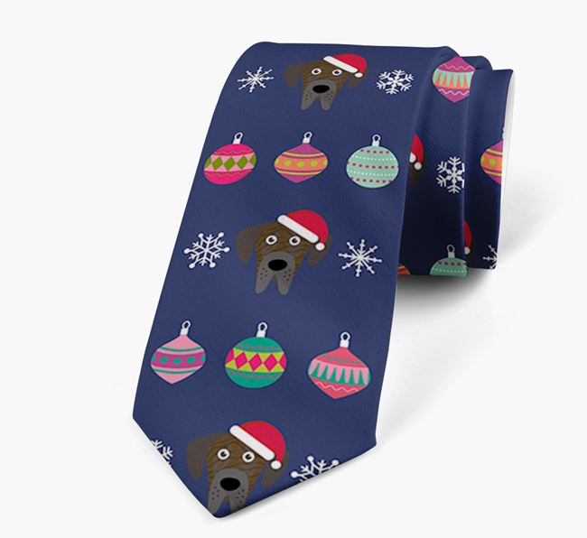 'Christmas Baubles' - Personalised Neck Tie with Great Dane Icons