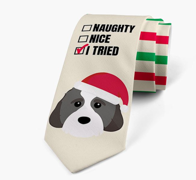 'Naughty, Nice, I Tried' - Personalised Neck Tie with Cavachon Icons