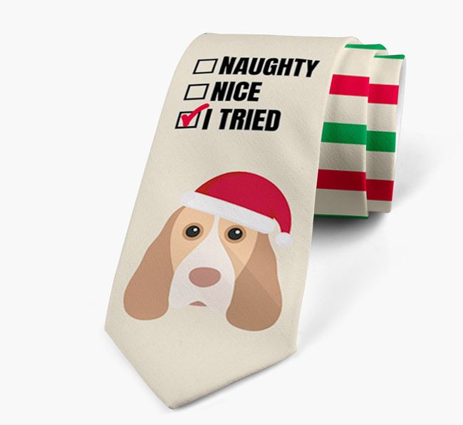 'Naughty, Nice, I Tried' - Personalised Neck Tie with Cocker Spaniel Icons