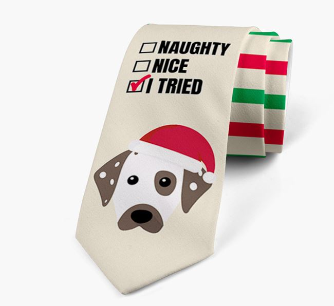 'Naughty, Nice, I Tried' - Personalised Neck Tie with Dalmatian Icons