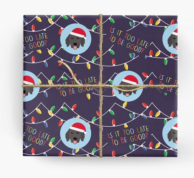 'Is it too late to be good?' - Personalized Flat-Coated Retriever Wrapping Paper