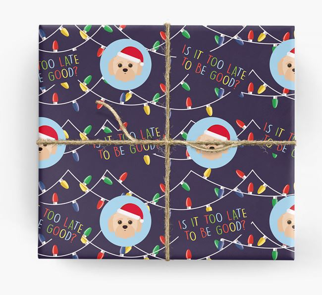'Is it too late to be good?' - Personalized Jack-A-Poo Wrapping Paper