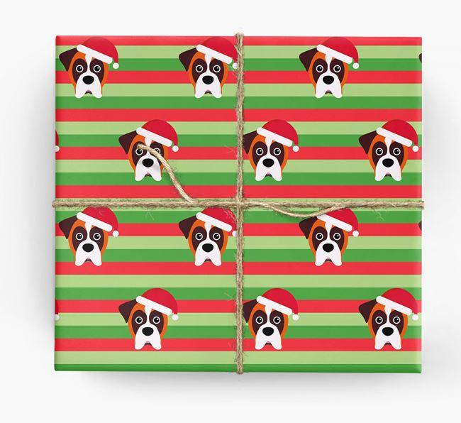 'Xmas Stripes' - Personalized Dog Wrapping Paper
