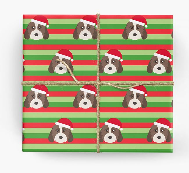 'Xmas Stripes' - Personalised Cockapoo Wrapping Paper