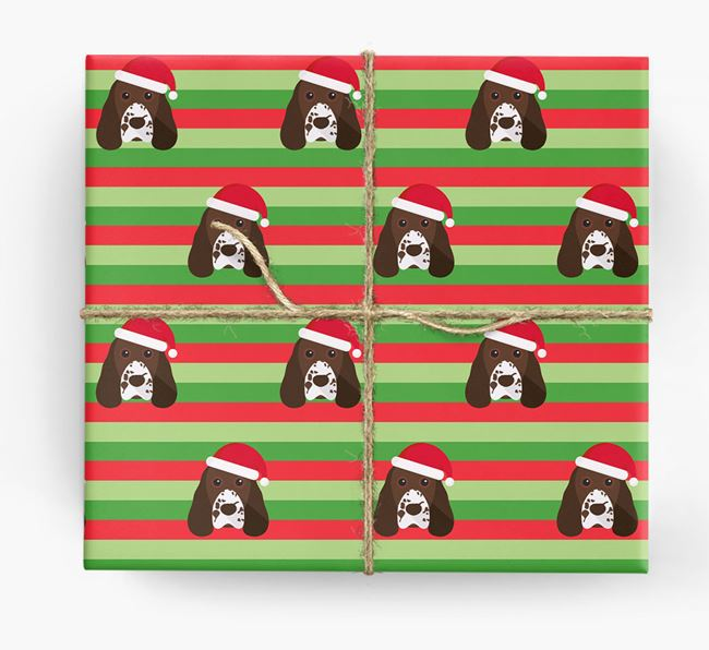 'Xmas Stripes' - Personalised Cocker Spaniel Wrapping Paper