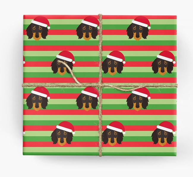 'Xmas Stripes' - Personalised Dachshund Wrapping Paper