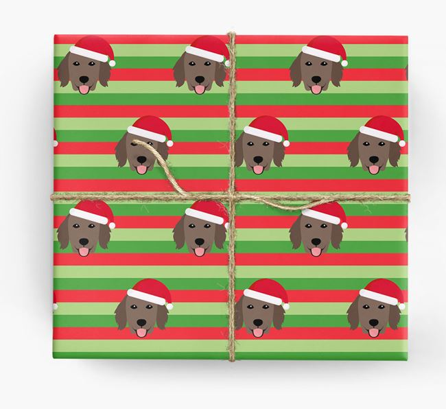 'Xmas Stripes' - Personalized Flat-Coated Retriever Wrapping Paper