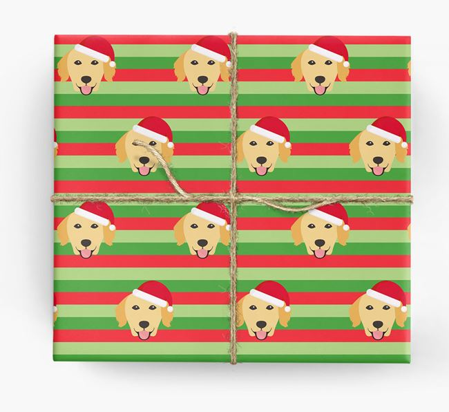 'Xmas Stripes' - Personalised Golden Retriever Wrapping Paper