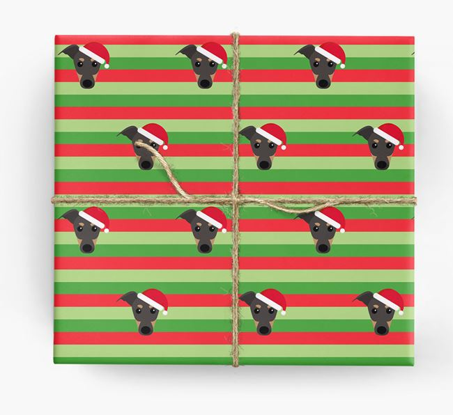 'Xmas Stripes' - Personalised Greyhound Wrapping Paper