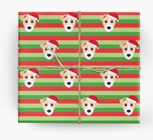 'Xmas Stripes' - Personalized Jack-A-Poo Wrapping Paper