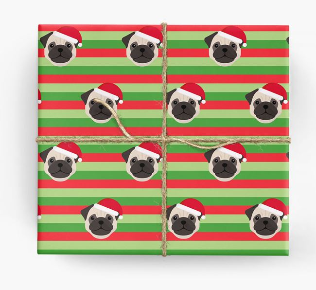 'Xmas Stripes' - Personalised Dog Wrapping Paper