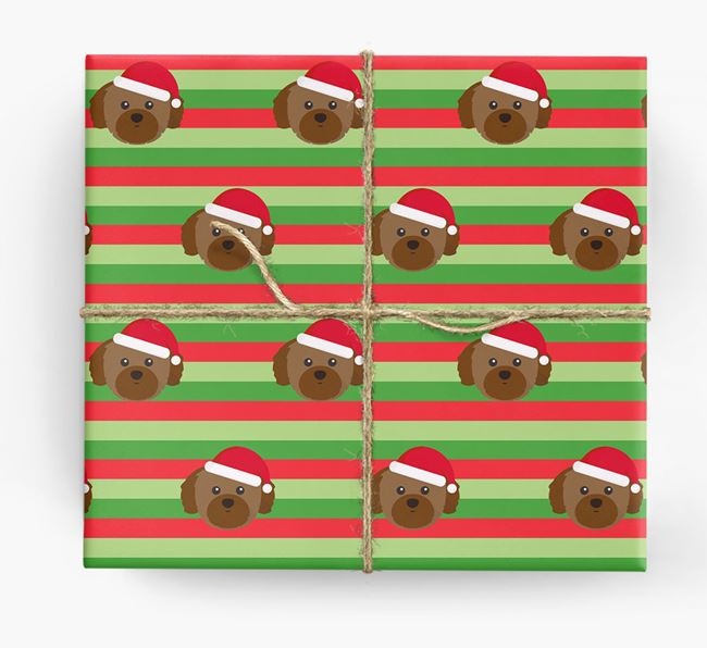 'Xmas Stripes' - Personalised Shih Tzu Wrapping Paper