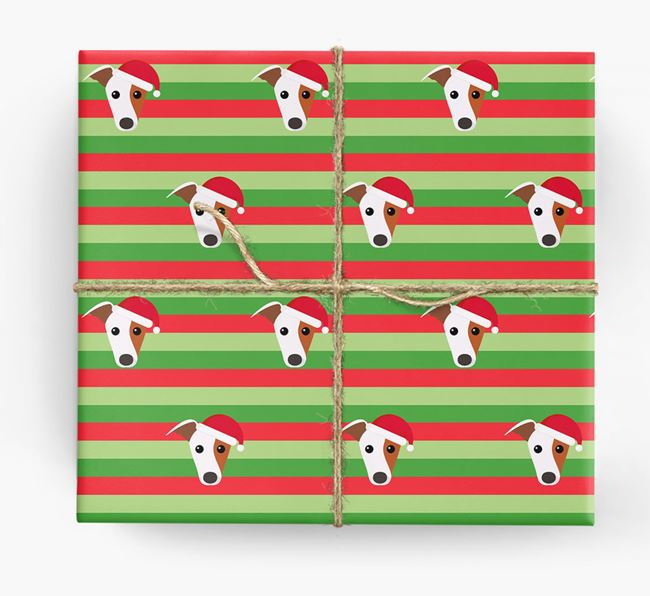 'Xmas Stripes' - Personalized Whippet Wrapping Paper