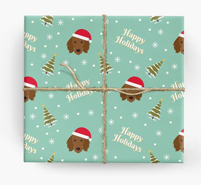 'Happy Holidays' - Personalised Dachshund Wrapping Paper