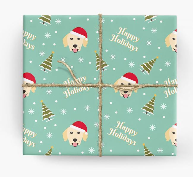 'Happy Holidays' - Personalised Golden Retriever Wrapping Paper