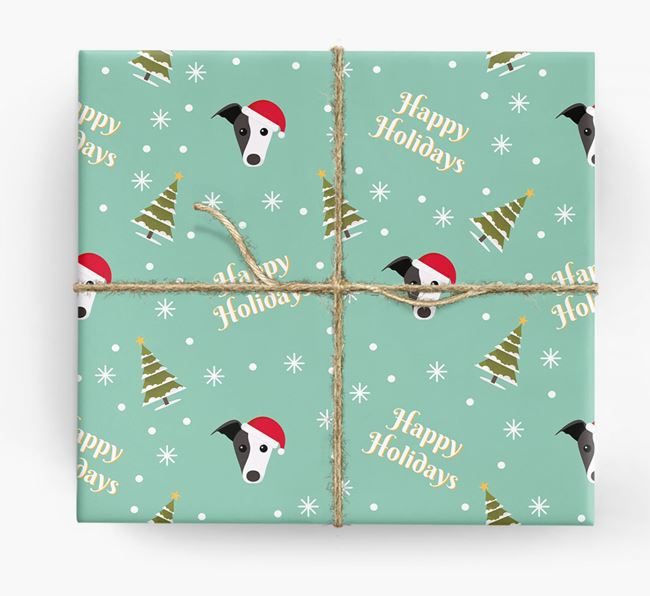 'Happy Holidays' - Personalised Greyhound Wrapping Paper
