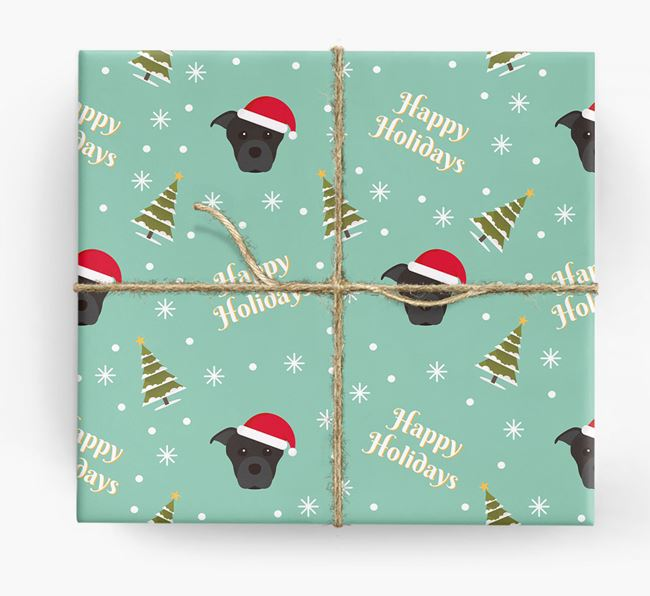 'Happy Holidays' - Personalised Dog Wrapping Paper