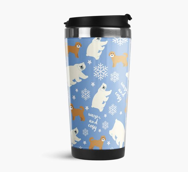'Warm & Cosy' Reusable Mug with Cavachon Icon Pattern