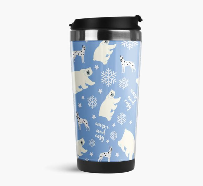 'Warm & Cosy' Reusable Mug with Great Dane Icon Pattern